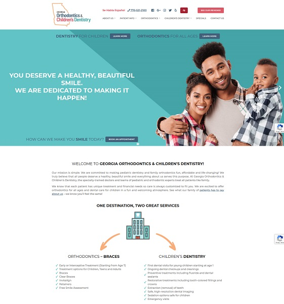 Georgia Orthodontics & Children's Dentistry website
