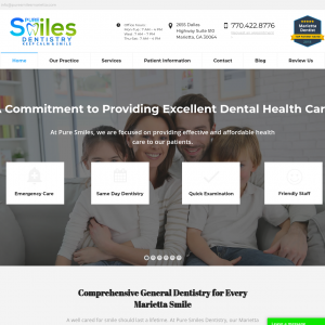 Pure Smiles Dentistry website