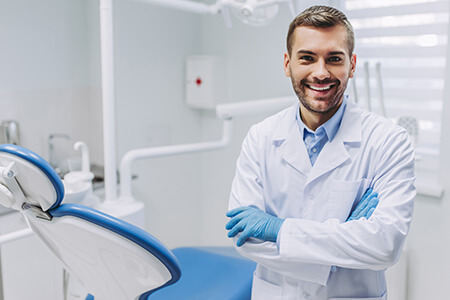 Dentist in his practice