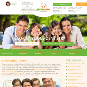 Green Dental of Alexandria website