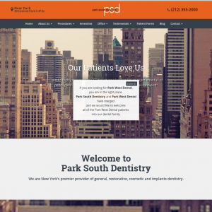 Park South Dentistry website