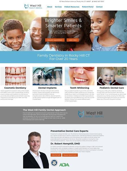 West Hill Family Dental website