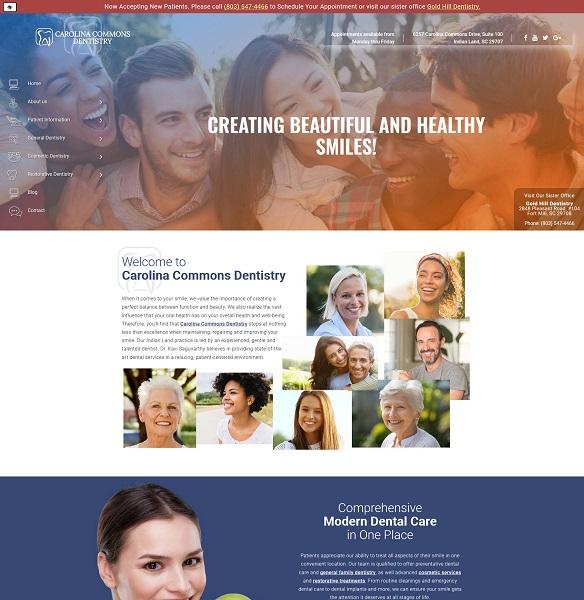 Carolina Commons Dentistry website