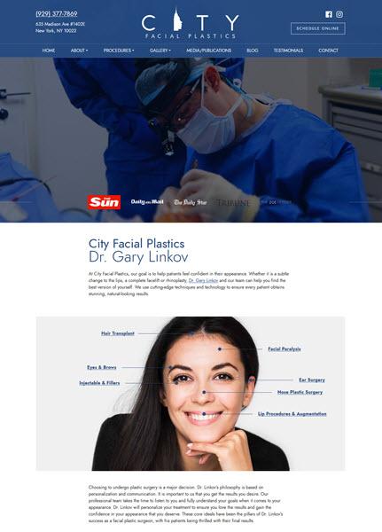 City Facial Plastics: Dr. Gary Linkov website