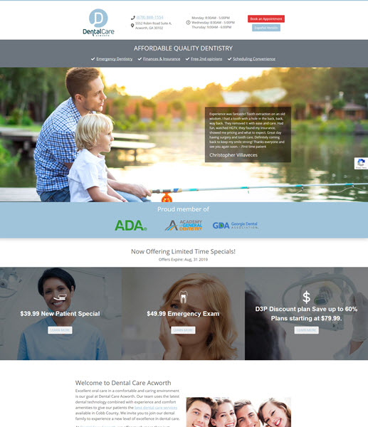 Dental Care Acworth website