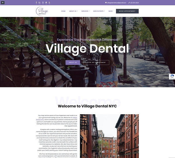 Village Dental NYC website