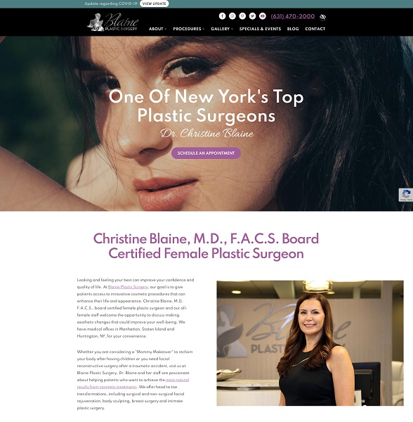 Blaine Plastic Surgery website