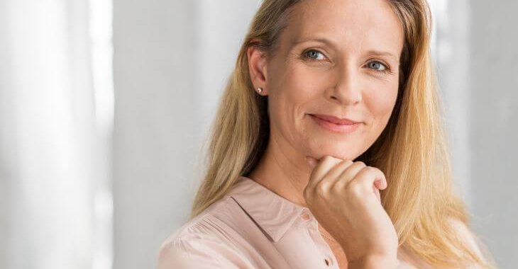 Mature woman with youthful look after blepharoplasty