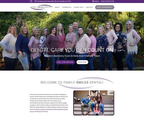 Family Smiles Dental website