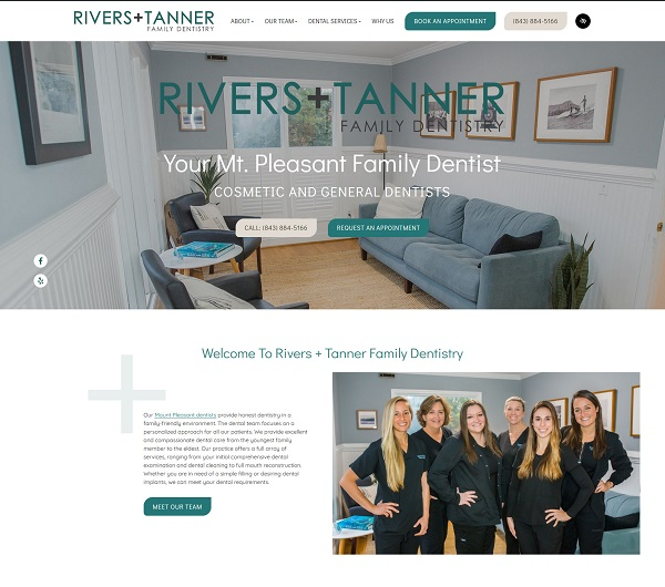 Rivers + Tanner Family Dentistry website