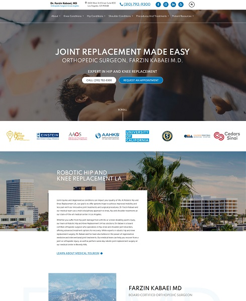 Robotic Hip and Knee Replacement LA website