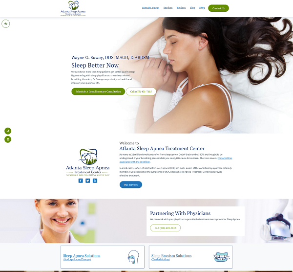 Atlanta Sleep Apnea Treatment Center website