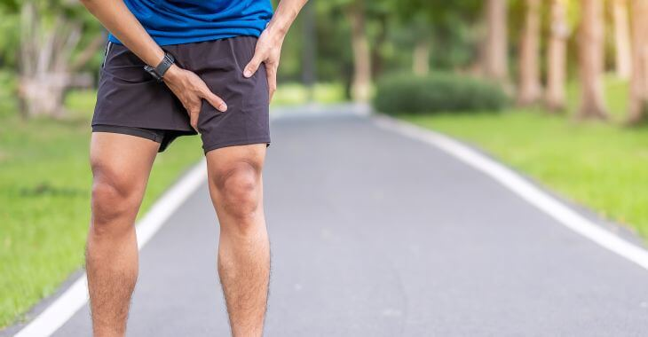 A runner man suffering from inguinal hernia.