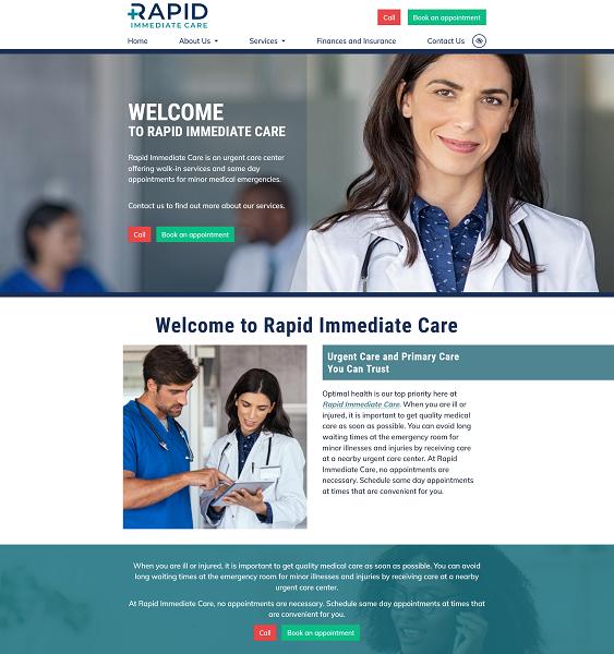 Rapid Immediate Care website