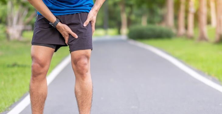 A runner stopped by pain in upper inner thigh.
