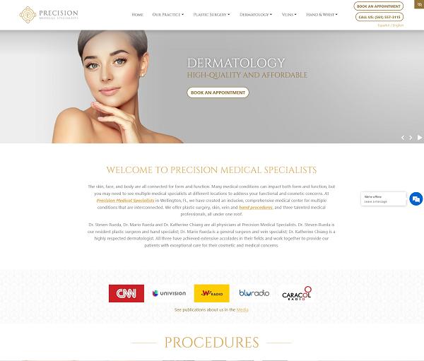 Precision Medical Specialists website